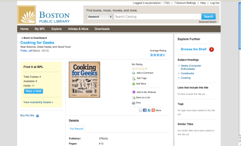Cooking for Geeks in the new BPL online catalog